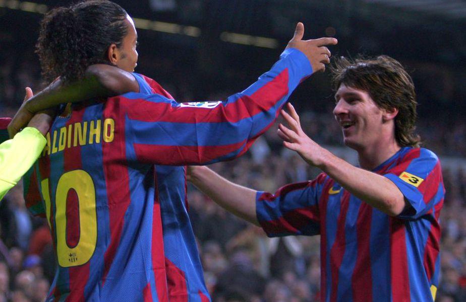 În 2005, Lionel Messi marca primul său gol pentru Barcelona, din pasa lui Ronaldinho // sursă foto: Guliver/gettyimages
