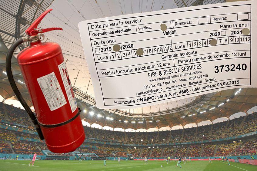 Așa arată etichetele lipite pe toate stingătoarele de incendiu de pe Arena Națională