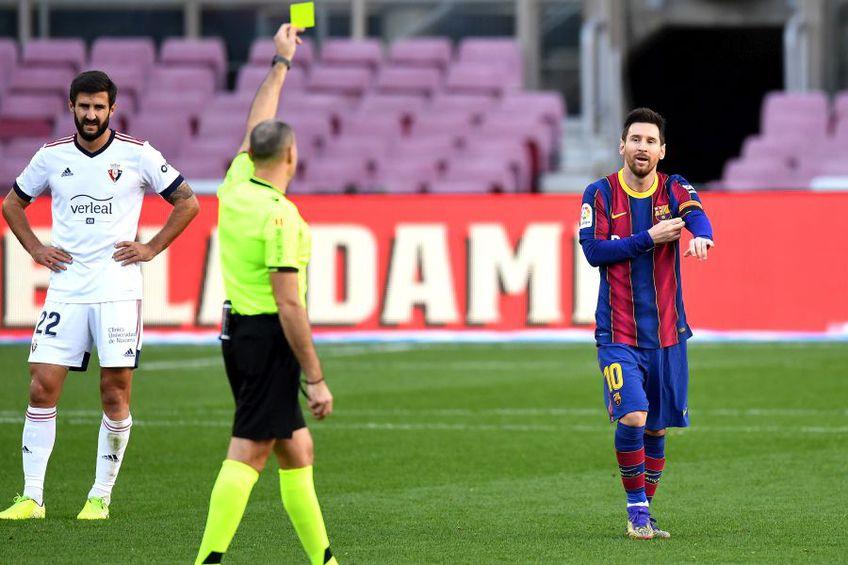 """Messi i-a dedicat golul lui Maradona, dar n-a scăpat de """"galben"""". foto: Guliver/Getty Images"""