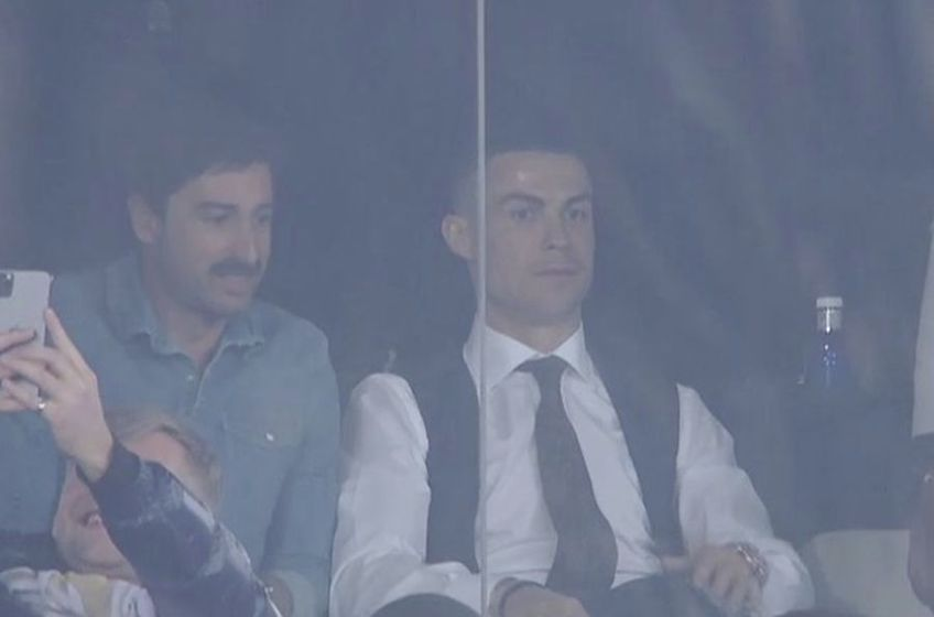Ronaldo în loja VIP pe Santiago Bernabeu // foto: captură Twitter