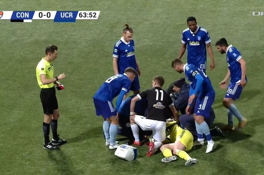 Robert Popa a fost lovit serios în Concordia Chiajna - FC U Craiova // foto: captură DigiSport 1