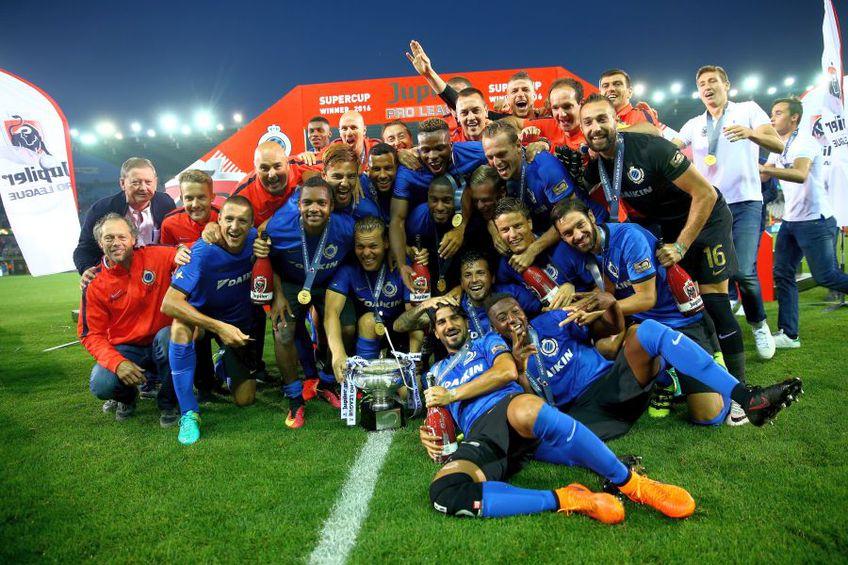 Club Brugge, după câștigarea Supercupei Belgiei în 2016 în fața lui Standard Liege // sursă foto: Guliver/gettyimages