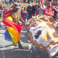 Capul unei păpuși cu chipul lui Jair Bolsonaro a fost lovit de protestatari, foto: Imago