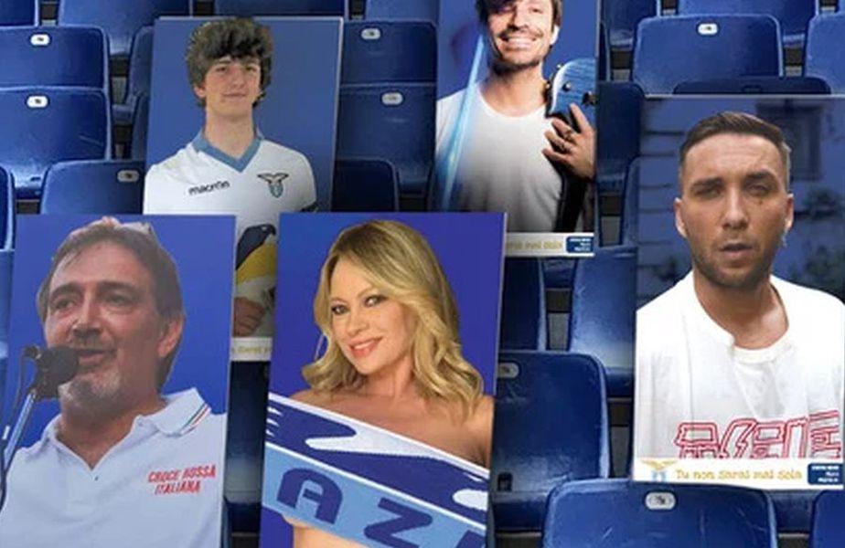 O serie de cartoane au fost deja plasate în tribunele arenei lui Lazio // sursă foto: sslazio.it