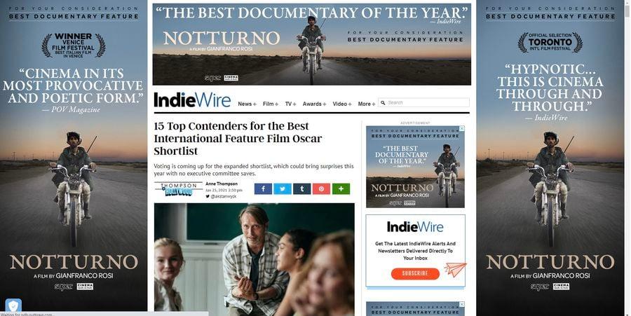 """Promovarea lui """"Notturno"""" la Oscar, pe site-ul Indiwire"""