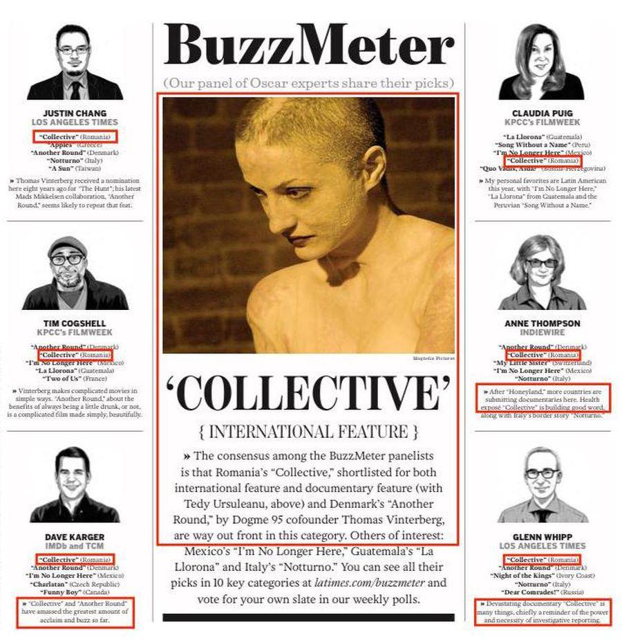 Colectiv se regăsește în preferințele pentru Oscar ale experților consultați de LA Times