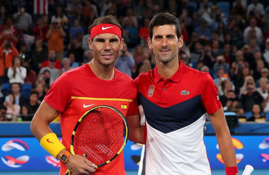 Nadal și Djokovici înaintea meciului din finala ATP Cup, în ianuarie Foto Guliver/GettyImages