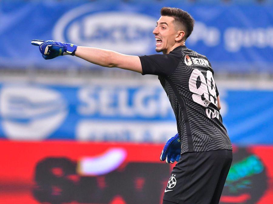 Andrei Vlad a încasat un gol caraghios în prelungirile meciului FCSB - CFR Cluj, scor 1-1