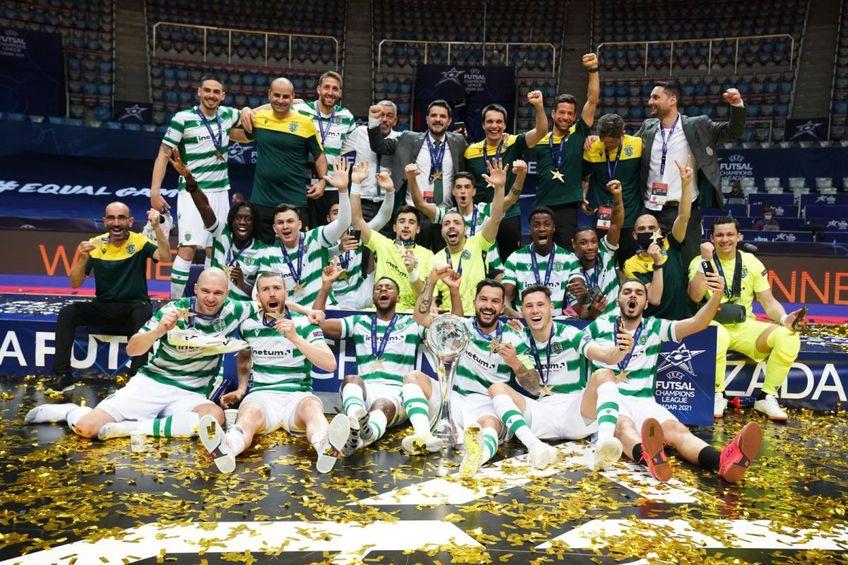 Sporting a cucerit Liga Campionilor la futsal // foto: Twitter @ Sporting_CP