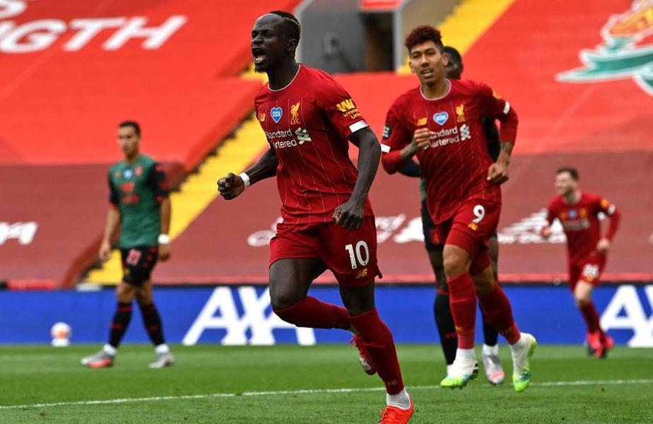 Sadio Mane (centru) a deschis scorul în Liverpool - Aston Villa // foto: Guliver/gettyimages
