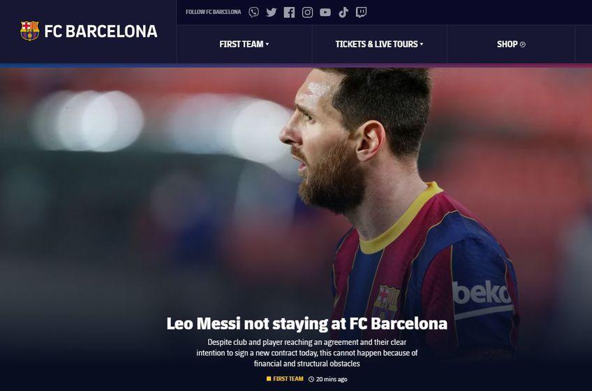 FC Barcelona a anunțat oficial că Leo Messi (34 de ani) nu va mai continua la clubul catalan!