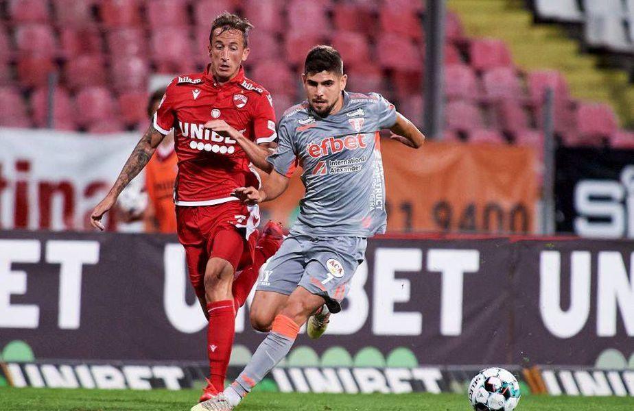 Octavian Ursu, numărul 7, a jucat 90 de minute în Dinamo - UTA 0-1