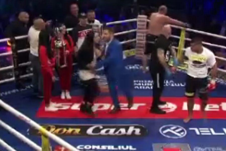 """FOTO Moment incredibil la Arad! Soția lui Tolea Ciumac, pusă la podea » S-a certat cu """"Rambo"""", iar lucrurile au fost la un pas să degenereze"""