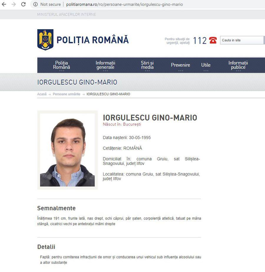 FOTO Mario Iorgulescu a fost dat în urmărire de Poliția Română! Cum e descris fiul președintelui LPF pe site