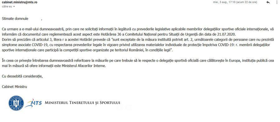 Mailul primit de redacție de la Ministerul Tineretului și Sportului