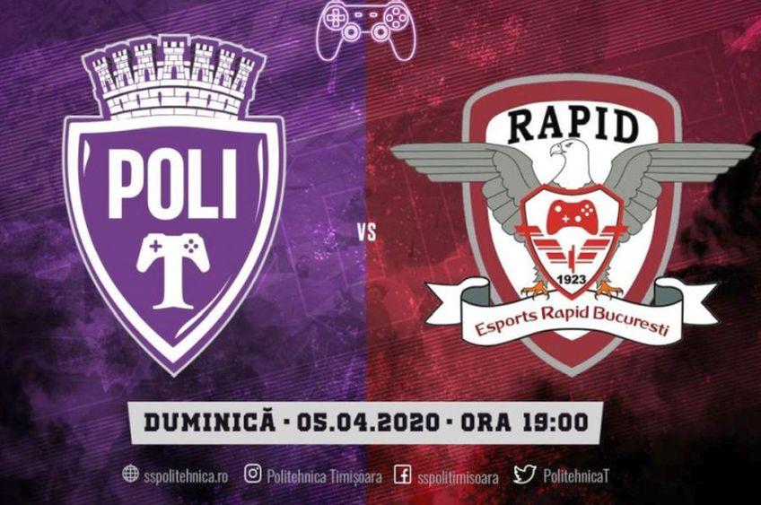 Rapid a învins Poli, scor 3-1, pe  FIFA 20 // sursă foto: sspolitehnica.ro