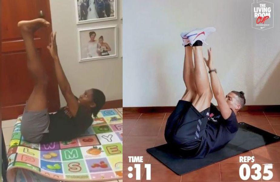 "Caster Semenya și Cristiano Ronaldo participând la provocarea ""Living Room"" // sursă foto: Instagram @castersemenya & @cristiano"