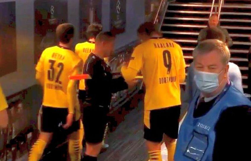 La finalul partidei Manchester City - Borussia Dortmund 2-1, asistentul Octavian Șovre i-a cerut două autografe lui Erling Haaland
