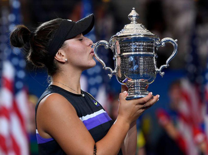 Bianca și trofeul de la US Open