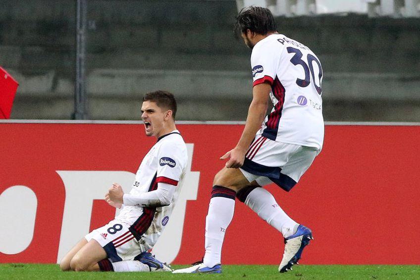 Răzvan Marin (stânga), după golul marcat în Verona - Cagliari 1-1 // foto: Imago