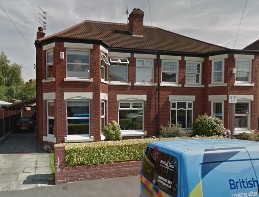 Casa soților Wright, în care Man a locuit pe durata probelor la Manchester City