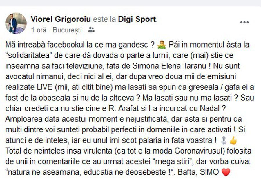"""VIDEO Simona Țăranu, apărată de colegi, după ce l-a invocat pe Rafael Nadal în locul lui Raed Arafat, în direct, pe post: """"Gafă de la oboseală"""""""