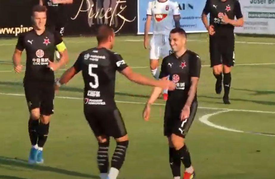 Nicolae Stanciu (27 de ani) a marcat un gol senzațional în meciul amical dintre Slavia Praga și MOL Vidi, scor 3-1.