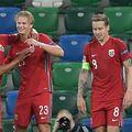 Erling Haaland, două goluri și un assist la Belfast, 5-1 cu Irlanda de Nord, a înscris primele sale trei goluri la naționala Norvegiei în două meciuri de Nations League. Foto: Guliver/GettyImages