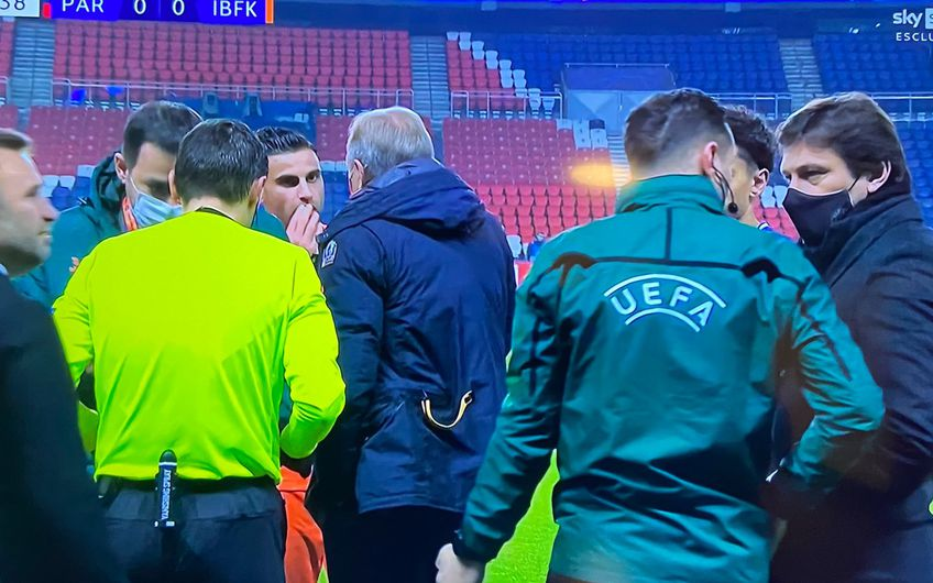 Basaksehir a părăsit terenul în prima repriză a meciului cu PSG, după ce arbitrul Sebastian Colțescu a folosit o expresie rasistă la adresa lui Demba a.