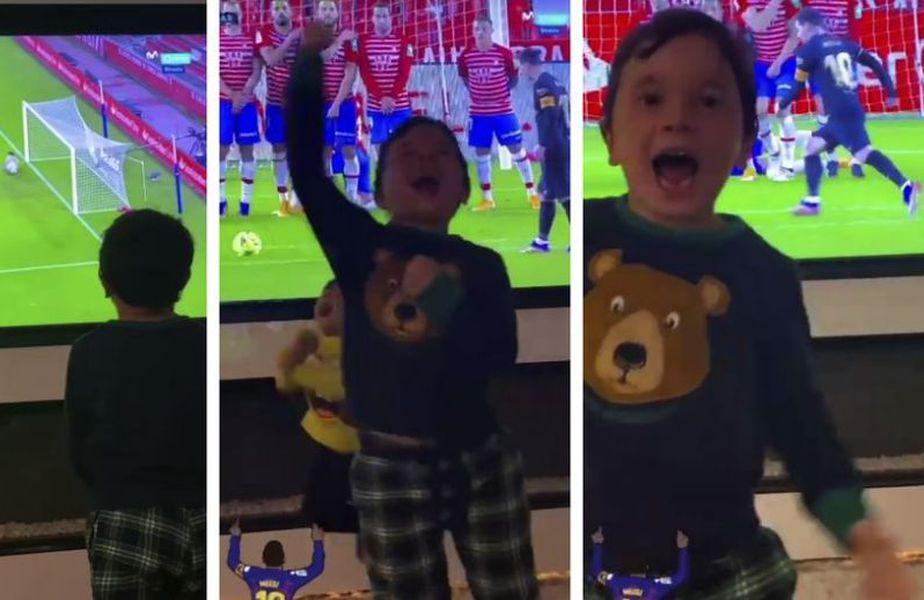 Mateo Messi a sărbătorit cele două goluri spectaculoase în Granada - Barcelona, scor 0-4, de tatăl său