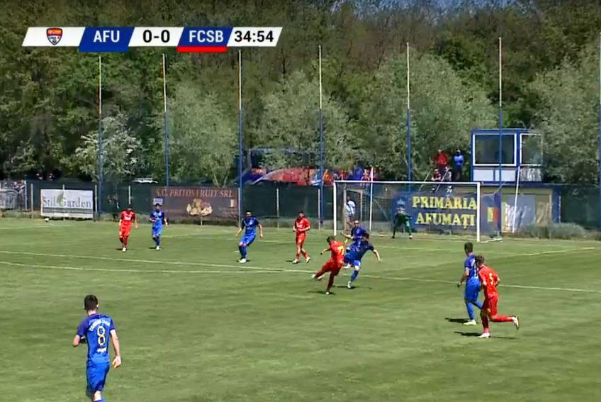 Golul reușit de Alexandru Stan cu CS Afumați / Captură TV Telekom Sport