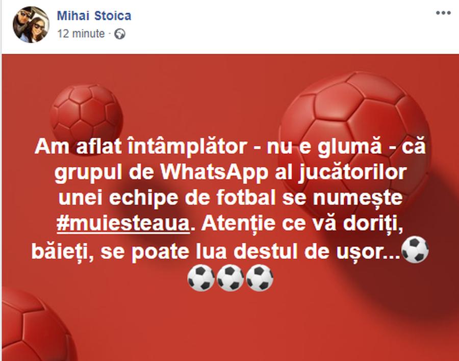 FCSB. Derapaj în dublu sens » Mihai Stoica, reacție suburbană după ce a aflat numele jignitor al unui grup de WhatsApp al unei echipe rivale