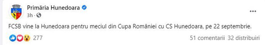 """Agitație în oraș! Unde se va juca CS Hunedoara - FCSB, unul dintre meciurile-vedetă din """"16-imile"""" Cupei"""