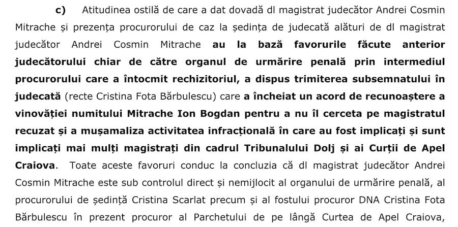 Extras din cererea de recuzare a judecătorului Mitrache, respinsă de colega lui de complet