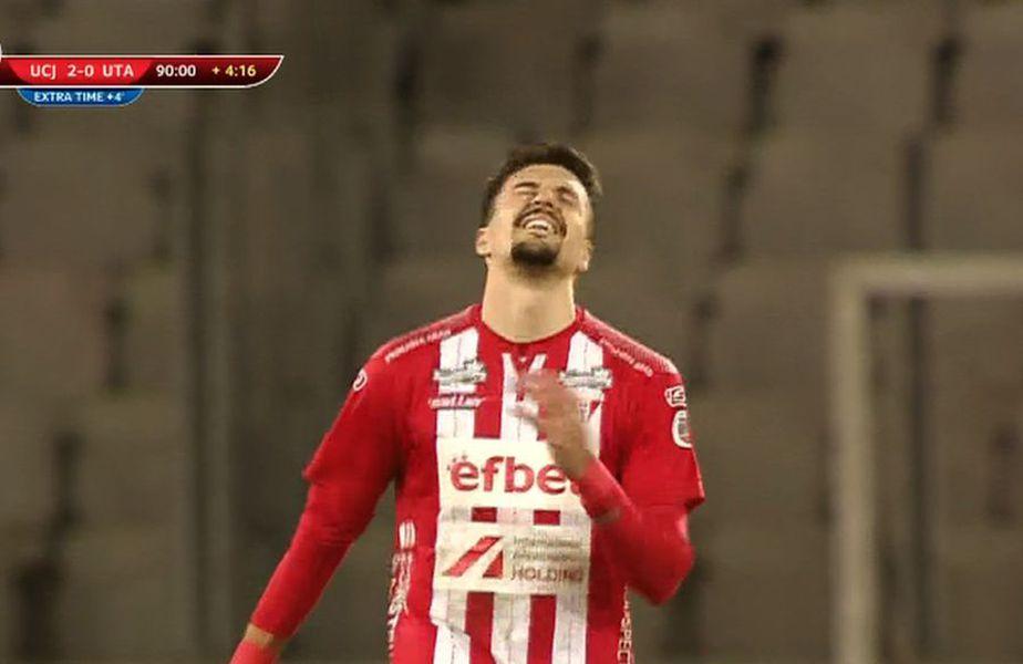 Adrian Petre, după golul marcat în U Cluj - UTA 2-1
