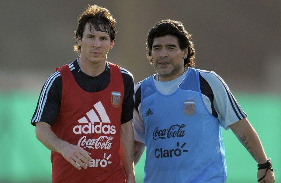 Leo Messi alături de Diego Maradona, în perioada în care căpitanul Barcelonei era antrenat de fosta glorie a lui Napoli // Sursă foto: Getty