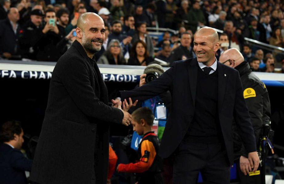 Pep Guardiola alături de Zinedine Zidane, înainte de meciul tur dintre Real Madrid și Manchester City (1-2) // Sursă foto: Getty