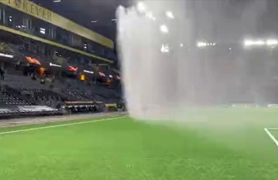 Elvețienii de la Young Boys Berna au udat suprafața sintetică de joc de pe arena Wankdorf, cu câteva momente înaintea meciului decisiv cu CFR Cluj, din grupa A de Europa League.