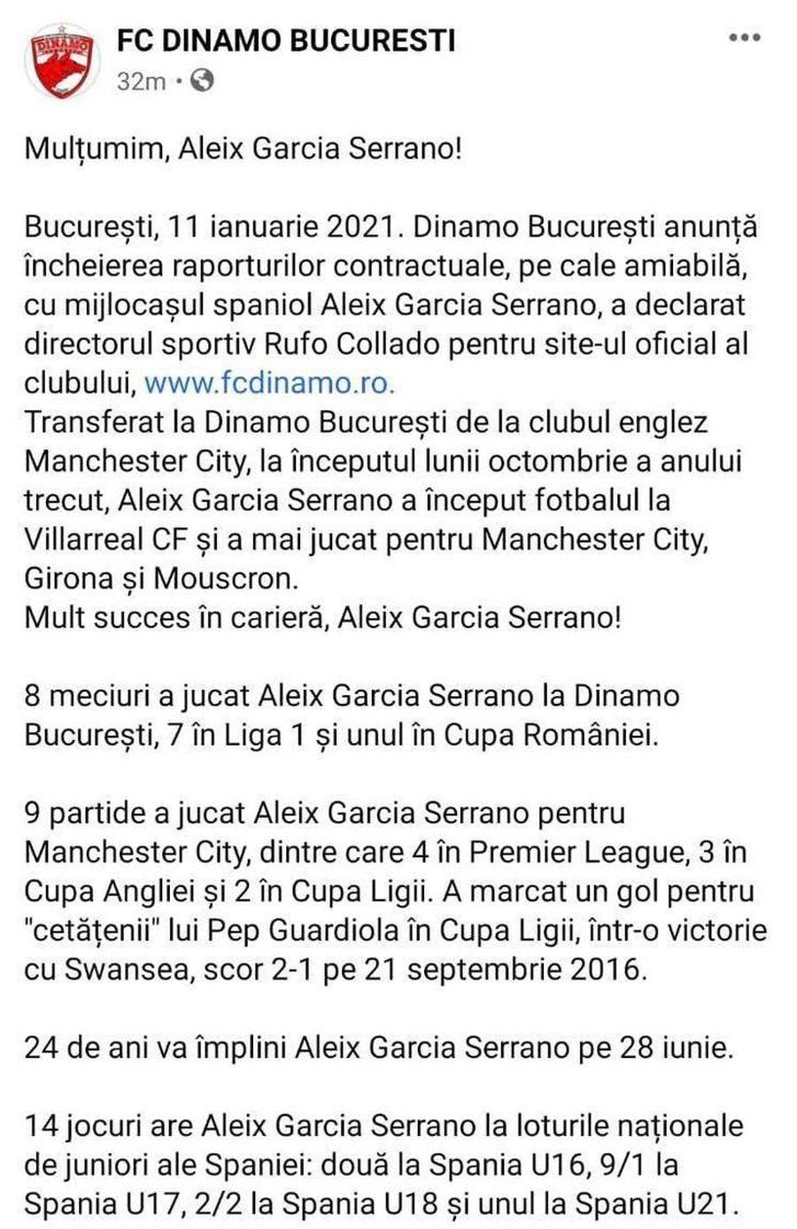 Captură facebook FC Dinamo București