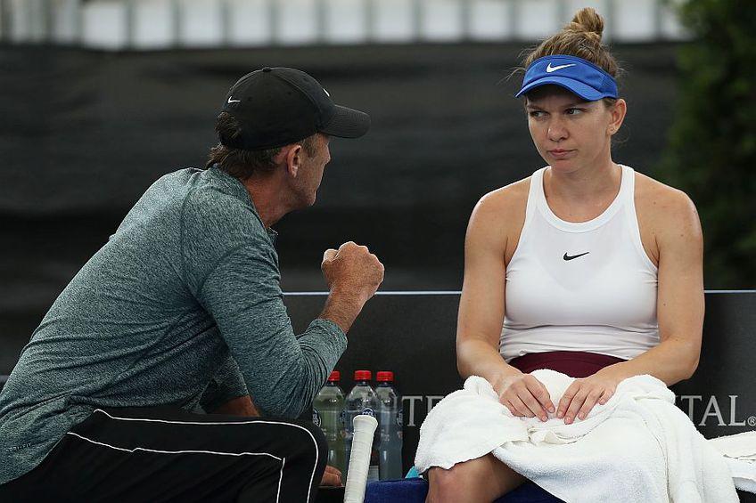 Darren Cahill și Simona Halep la Adelaide, primul turneu al româncei din acest sezon FOTO: GettyImages