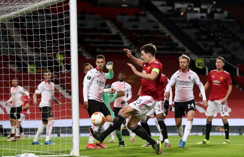 """Harry Maguire, 28 de ani, fundașul central al lui Manchester United, a irosit o ocazie uriașă în partida cu AC Milan - """"optimile"""" Europa League, manșa tur."""