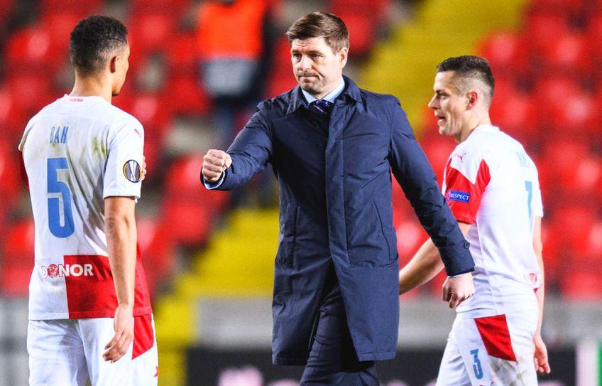 Steven Gerrard (40 de ani) i-a lăudat pe Ianis Hagi (22 de ani) și pe Nicolae Stanciu (27 de ani), pentru prestațiile din Slavia Praga - Rangers, scor 1-1.