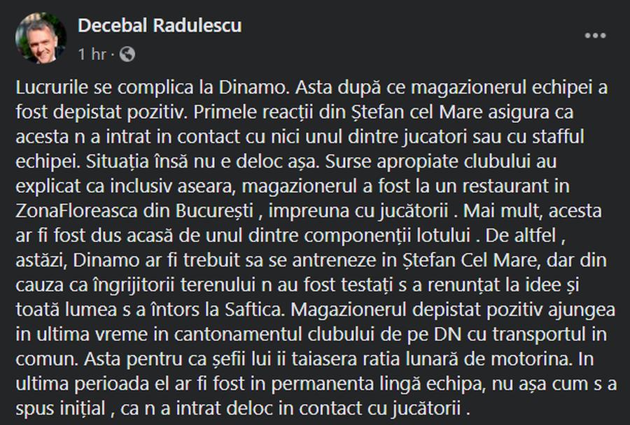 UPDATE | Un jucător de la Dinamo contrazice ipoteza că magazionerul ar fi fost prezent la restaurant joi, alături de echipă