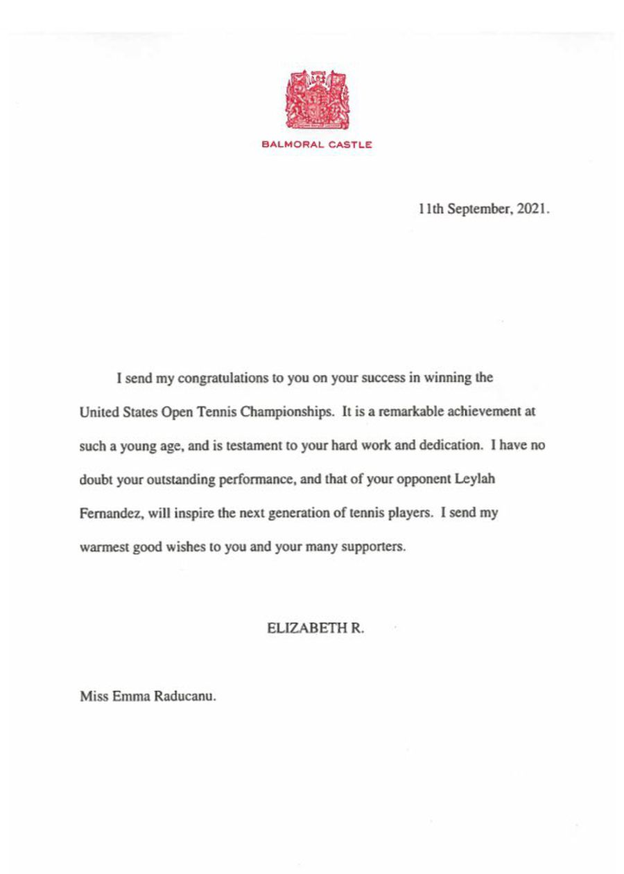Moment istoric: scrisoarea trimisă de Regina Angliei imediat după finala US Open 2021