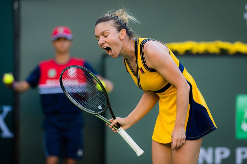 Simona Halep, nervoasă în timpul meciului cu Aliaksandra Sasnovich // foto: Imago Images