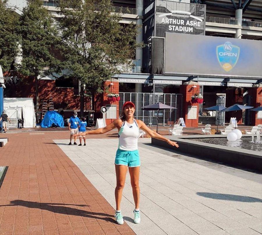 Mihaela Buzărnescu în complexul de la Flushing Meadows, înainte de startul US Open
