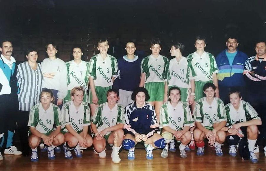 Bogdan Macovei (primul din stânga) pe când antrena la Kometal Skopje