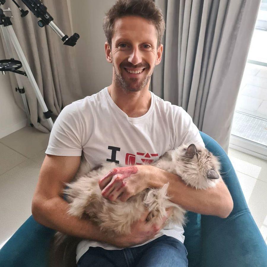 Romain Grosjean și pisica sa, Petrus Foto Twitter Romain Grosjean