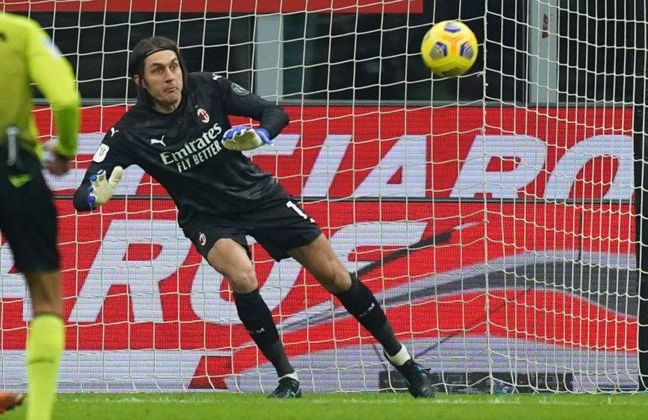 """Ciprian Tătărușanu (34 de ani, portar) a fost integralist la AC Milan în meciul cu Torino, din """"optimile"""" Cupei Italiei @Getty&Imago"""