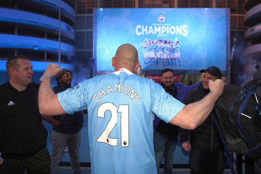 Fanii lui Manchester City au sărbătorit deja trofeul // Foto: Getty Images